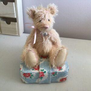 Petal french pink mohair teddy bear