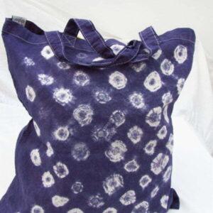 Shibori Tote Bag - Purple Rasen - Mini Spirals Carbon Neutral Bag