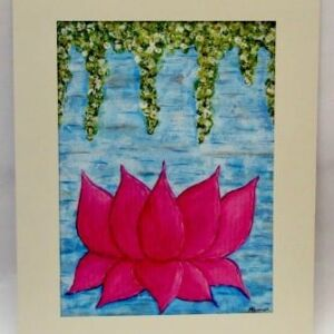 Original Mixed Media Piece - Mount Framed: Floating Lotus