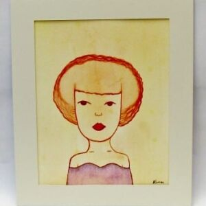 Original Watercolour - Mount Framed: She Stared Into The Distance Longing For More