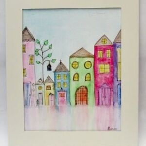 Original Watercolour - Mount Framed: Happy Homes