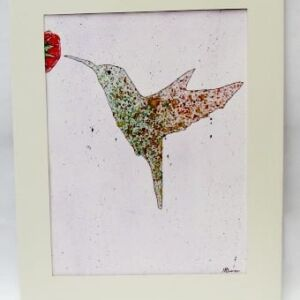 Original Watercolour - Mount Framed: Hummingbird