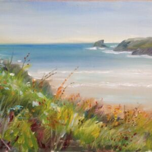 Original Oil Painting - 'Porthcothan View' Oil on paper 12x8in