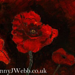 Poppies in the Dark Mixed Media Paintng