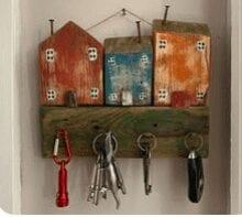 Colourful reclaimed wood house key holder