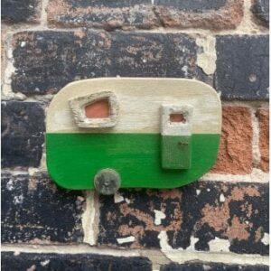 Small, green reclaimed wood caravan wall art