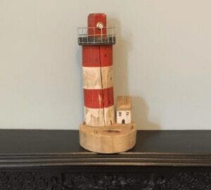Reclaimed wood lighthouse - red and white