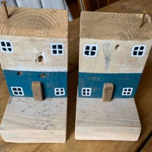 Wooden house bookends - blue and whitewash