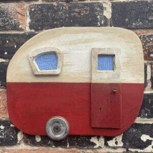 Large, blue reclaimed wood caravan wall art