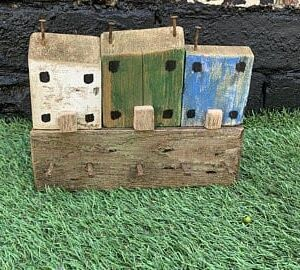 Reclaimed wood house key holder - green, blue and white