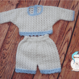 Hand crochet blue and white outfit for newborn baby boy 0-3 months.