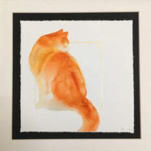 Sitting Ginger Cat - Hand Embellished Fine Art Print