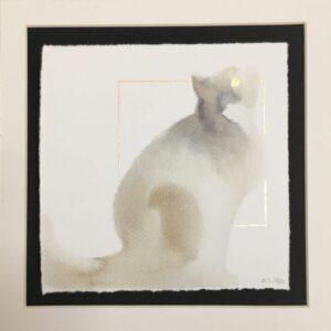 Sitting Grey Cat - Hand Embellished Fine Art Print