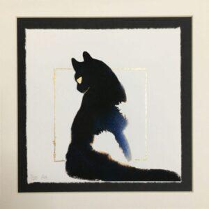 Sitting Tuxedo Cat - Hand Embellished Fine Art Print