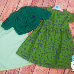 Green Handmade Girls Dress Indian Cotton Bolero and underskirt