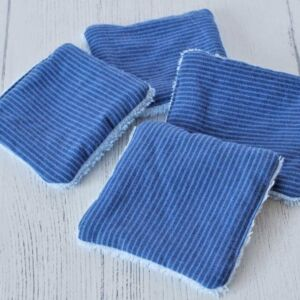 Reusable face wipes in Blue stripes