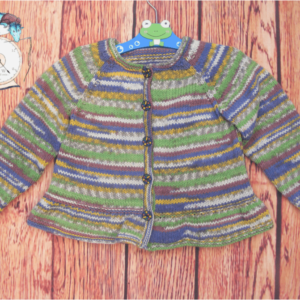 Autumn coloured peplum cardigan. 10% of all sales goes to breast cancer and honeybee research.