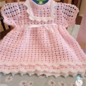 Crocheted New Baby Pink Dress - Newborn 0-3 Months