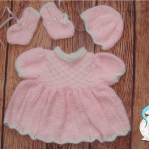 Complete outfit for prem baby girl. 10% of all sales goes to breast cancer and honeybee research.