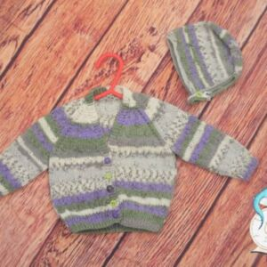 Hand Knitted Cardigan and Hat | DK Stonecroft wool | 3-6 Months