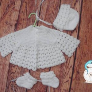 Crocheted White Coat, Hat and Bootees set in 4 ply