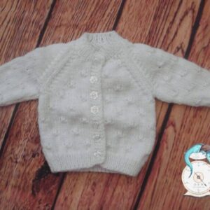 Hand knitted white prem baby cardigan 14 inch chest