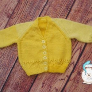 Hand Knitted Yellow Cardigan for a Baby Girl in Pattercake Wool