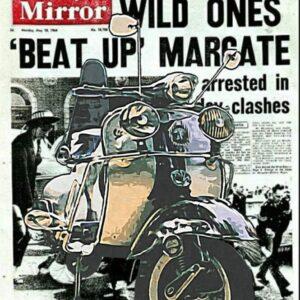 Vespa 1964 headline | mod vespa lambretta Brighton Margate headline art unframed print
