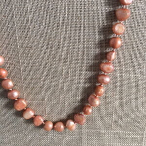 "Peach freshwater baroque pearl 18"" traditional silk knotted necklace"