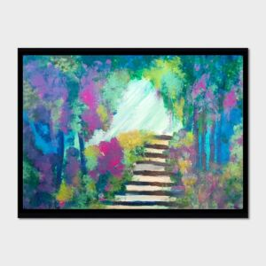 Enchanted Forest, Secret garden, Original acrylic painting. A3 signed and framed.