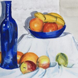 STUDIO SALE - 'Blue Bottle and Fruit' watercolour painting