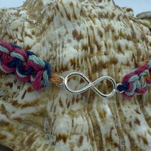 """7.5"""" Hand Woven Hemp Sterling Silver Infinity Bracelet"""