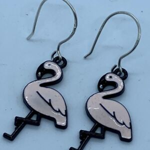 Enamelled Pink Flamingo Earrings with 925 Sterling Silver Earwires