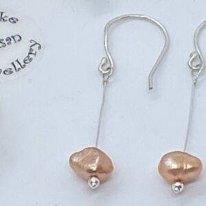 Peach freshwater baroque pearl 925 sterling silver earrings