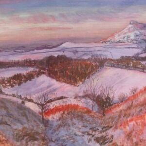 STUDIO SALE -'Roseberry Topping' acrylic painting on paper