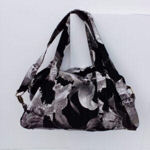 Handmade textile travel bag black/silver
