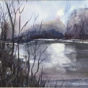 STUDIO SALE -'Moonlit Lake' watercolour painting