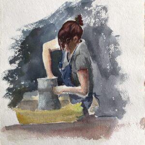 STUDIO SALE - 'Driving Me Potty' watercolour