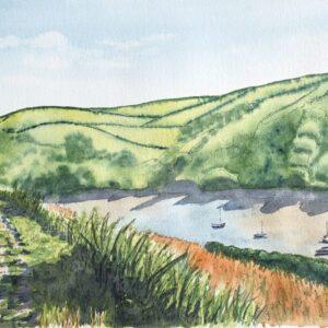 STUDIO SALE - 'Estuary Walk' watercolour, unframed, 15x10in