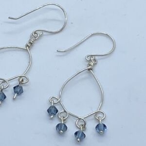 Sterling silver Swarovski elements handmade chandelier earrings