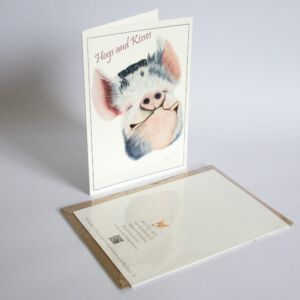 Pig fine art greetings card by Alan Taylor Art
