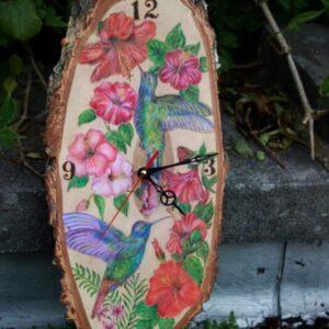 Hummingbirds and Flowers on Large Wood Slice / Handmade Clock / Handmade Pyrography / Woodburning Art / Prismacolor Pencils / Birch slab