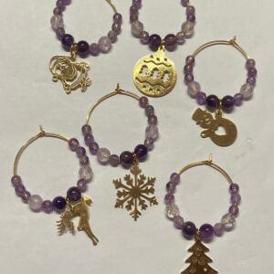 Natural gemstone Christmas wine charms