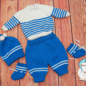 Little Boy Blue Handknitted Baby Outfit - Blue and White Striped Suit with Matching Hat and Gloves - size 0-3 months