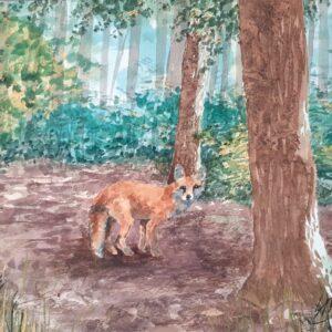 Fox in a Glade original watercolour by Lisa Mann