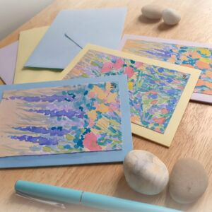 Set of Three Monet Style Hand Painted Watercolour Cards by Lisa Mann