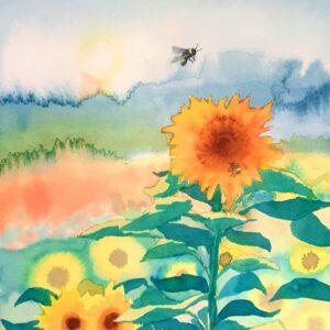 Sunflower and Bee original watercolour by Lisa Mann