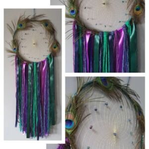 Peacock Feather Dreamcatcher - Bornite Stone - Peacock Ore Crystal -Boys Girls Nursery - Living Room Wall Hanging