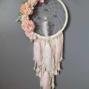 Floral Feather Handmade Dreamcatcher - Girls Boys Dreamcatcher - Wall Hanging - Baby Nursery - Boho