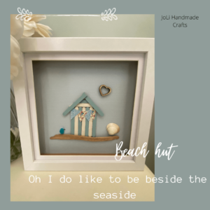 Framed Handmade Beach Hut Picture | Complete with Shells